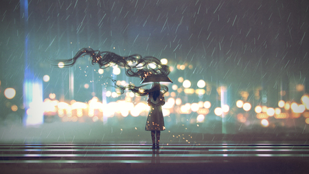 Mysterious woman with umbrella at rainy night, digital art style Stok Fotoğraf