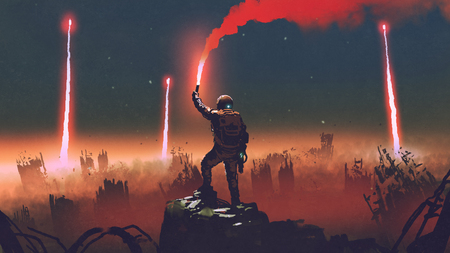 Man holds a red smoke flare up in the air and standing against the apocalypse world