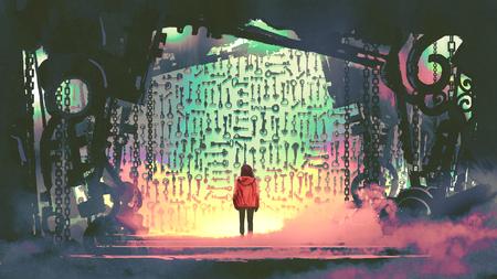 Jeune fille regardant beaucoup de clés sur le mur dans la grotte steampunk, style art numérique, peinture d'illustration