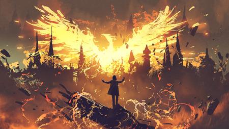 Tovenaar roept de feniks uit de hel op, digitale kunststijl Stockfoto