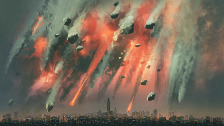 Sci-fi scene of the meteorites explodes in the sky above the city Foto de archivo