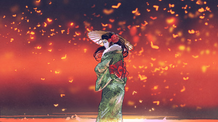 Young asian girl in Japanese traditional clothes holds an umbrella standing against fantasy place with glowing insects flying around, digital art style 写真素材