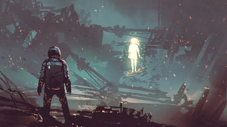Sci-fi scene of the futuristic man facing the glowing girl in abandoned planet, digital art style