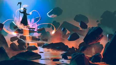 El flotando con su magia en el infierno, estilo de arte digital