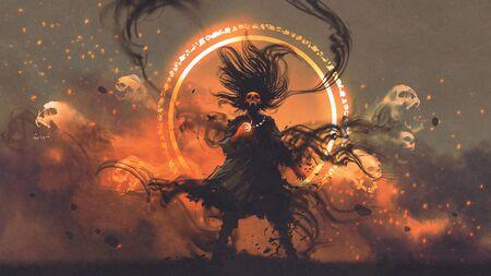 Hechicero enojado de los espíritus malignos sostiene una gema mágica lanza un hechizo, estilo de arte digital