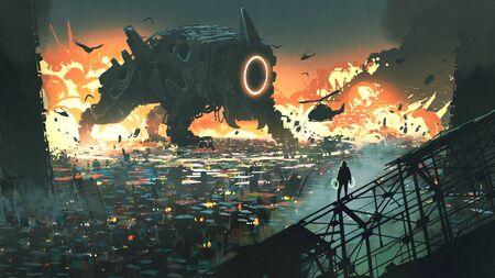 Scena fantascientifica della macchina creatura che invade la città, in stile arte digitale