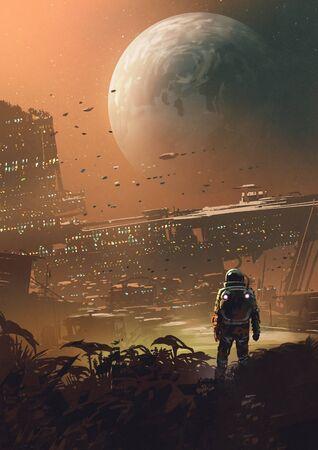 Astronauta mirando ciudad futurista en el planeta, estilo de arte digital