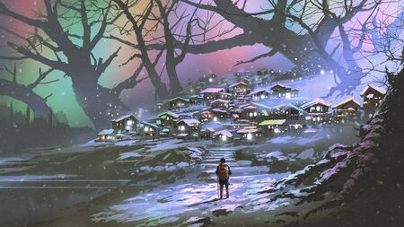Night scenery of snow village with colorful atmosphere, digital art style, illustration painting 写真素材