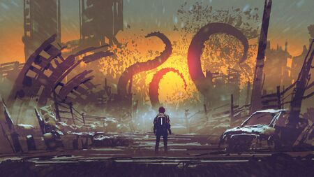 Man looking at a tentacle monster that destroys the city, digital art style Foto de archivo