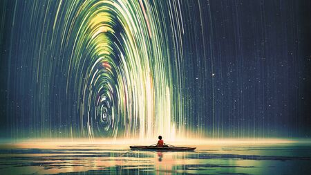 Boy rowing a boat in the sea of the starry night with mysterious light