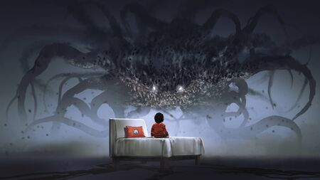 Koncepcja koszmaru przedstawiająca chłopca na łóżku stojącego w obliczu gigantycznego potwora w ciemnej krainie