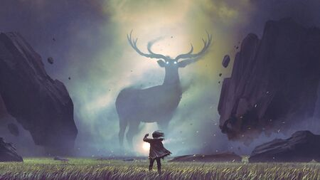 Man with a magic lantern facing the giant deer in a mysterious valley