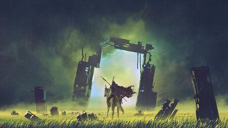Chevalier futuriste sur une licorne noire entrant dans le portail brisé vers un autre monde Banque d'images