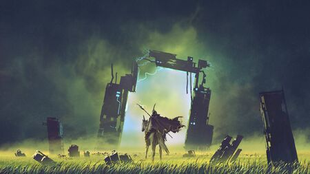 Futuristic knight on a black unicorn entering the broken portal to another world