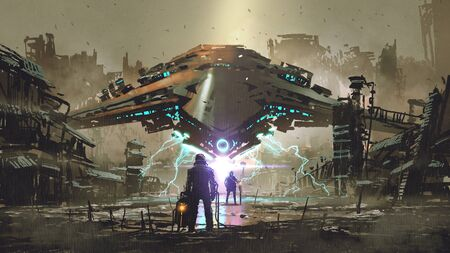 Encounter between two futuristic humans with the spaceship