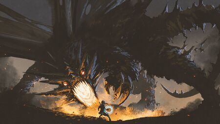 fantasy scene showing the girl fighting the fire dragon, digital art style, illustration painting Stock Photo