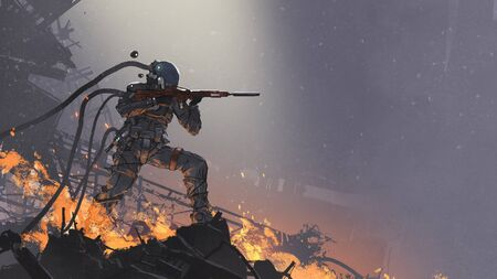 Futuristic soldier aiming his gun at the enemy against the battlefield