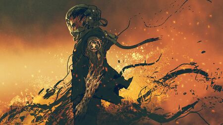 Sci-fi character of an infected astronaut standing on fire Standard-Bild