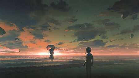 A boy looking at the mysterious woman with umbrella standing in the sea against sunset sky