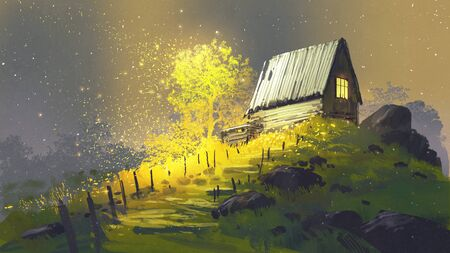 fantastic landscape showing pathway to the house on a hill, digital art style, illustration painting
