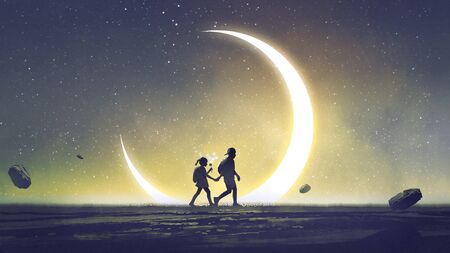 Night scenery showing a brother and sister holding hands walking above the sky with the crescent in the starry night
