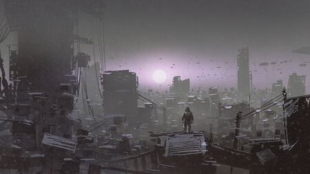 Man looking at sunset on a rooftop of the building in the post-apocalyptic world, digital art style
