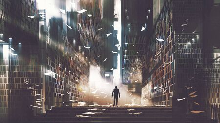 Man standing in a mysterious library, digital art style