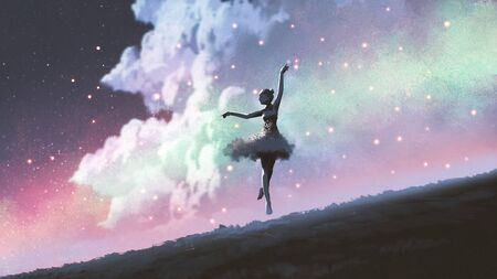a ballerina dancing with fireflies on the hill against the night sky, digital art style, illustration painting