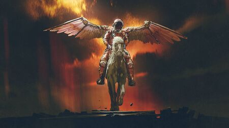 sci-fi concept of the astronaut with wings riding a horse on dark background, digital art style, illustration painting