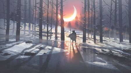man in winter forest looking at the glowing moon crest, digital art style, illustration painting
