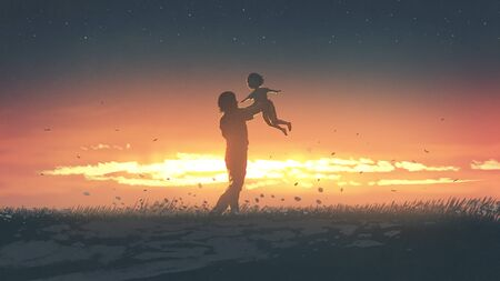 silhouette of the father carring his daughter up at sunset, digital art style, illustration painting