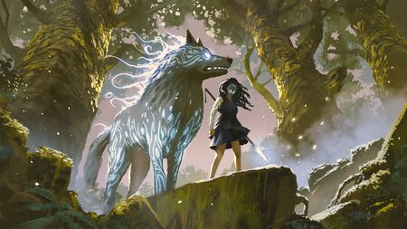 wild girl with her wolf standing in the forest, digital art style, illustration painting Standard-Bild