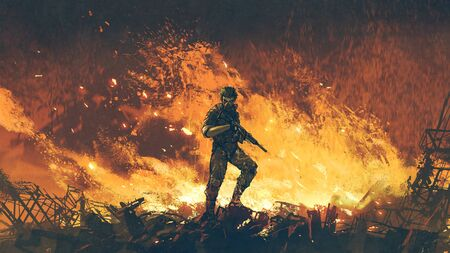 a soldier with his gun standing against fire background and looking at viewer, digital art style, illustration painting Standard-Bild