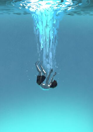 the young man falling underwater, depressed concept, digital art style, illustration painting