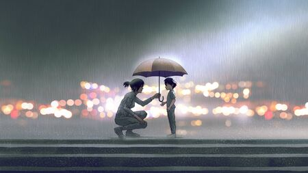 the woman gives an umbrella to the boy in the rain, digital art style, illustration painting