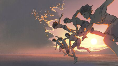 A group of young men running and jumping into the ocean together at sunset Standard-Bild