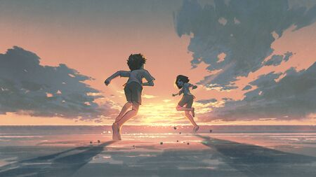 boy and girl running on the beach to see the sunrise on the horizon, digital art style, illustration painting Standard-Bild