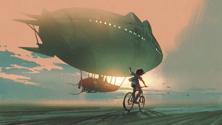 kid rides a bicycle waving good bye to the airship at sunset, digital art style, illustration painting Standard-Bild