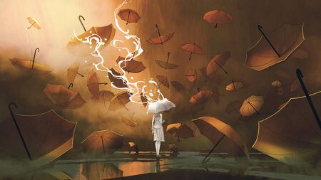 woman with white umbrella standing among many orange umbrellas, digital art style, illustration painting Standard-Bild