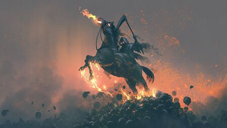 Horseman, grim reaper riding the horse jumping from a pile of human skulls