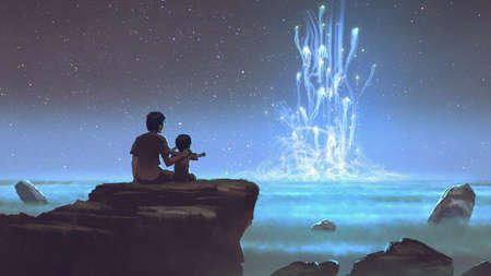 two brothers sitting on the cliff and looking at mysterious glowing light