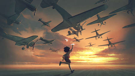 the boy plays paper airplanes and looking at planes flying in the sunset sky, digital art style, illustration painting Standard-Bild