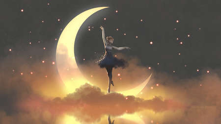 a ballerina dancing with fireflies against the crescent moon, digital art style, illustration painting Standard-Bild