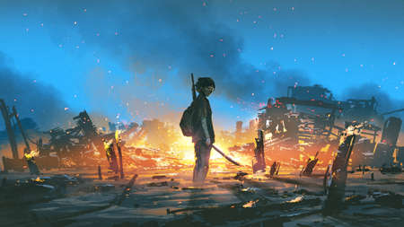 young survivor in the apocalyptic world, digital art style, illustration painting Standard-Bild