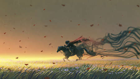 knight riding a horse running in the meadow, digital art style, illustration painting Standard-Bild