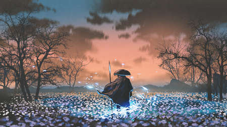 ancient warrior with the magic spear standing in the meadow, digital art style, illustration painting