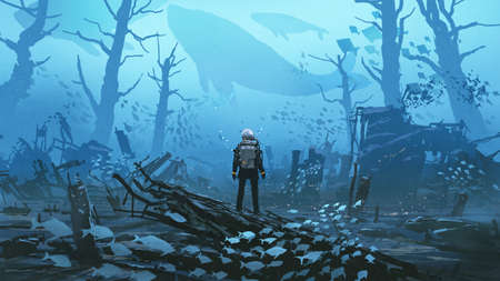 under water scene of the futuristic diver standing in a submerged town, digital art style, illustration painting