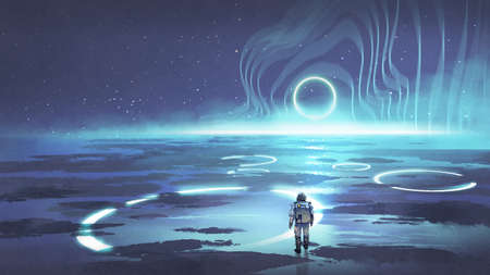 spaceman walking on planet with glowing blue ring light, digital art style, illustration painting Standard-Bild