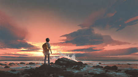 a boy standing with guitar against the sunset background, digital art style, illustration painting