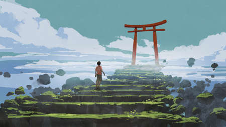young boy walking up the stairs to the Torii gate, digital art style, illustration painting Standard-Bild